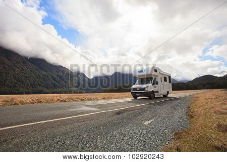 Milford Sound New Zealand-august 30 : Camper Van On The Road To Milford Sound Fiord Land National Pa