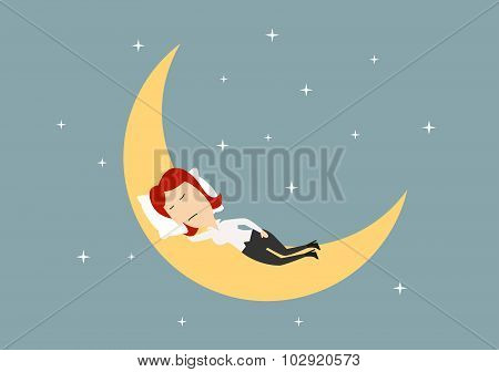 Businesswoman sleeping on golden moon