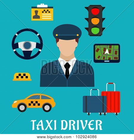 Taxi driver profession flat icons with man in uniform and yellow car, luggage, steering wheel and navigation map, traffic light, checkered roof sign and name badge poster