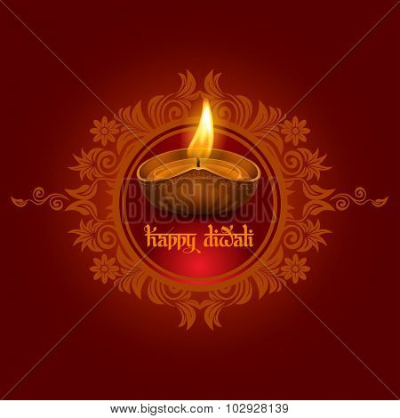 Vector illustration of burning oil lamp diya on Diwali Holiday, ancient Hindu festival of lights, on ornate dark red background. Original calligraphic inscription Happy Diwali and space for your text.