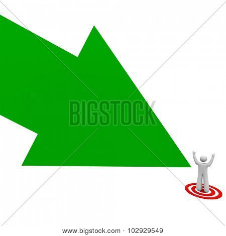 Target your audience green arrow pointing to a customer, client or prospect on a bull's eye to illustrate advertising and marketing