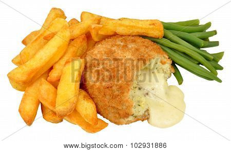 Cheese Filled Fish Cake And Chips Meal