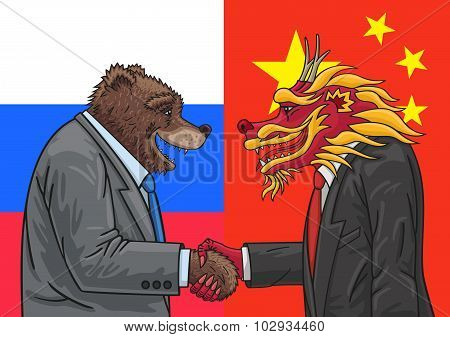 Russian bear and Chinese dragon conclude an alliance. poster