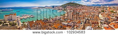 Split Waterfront Aerial Panoramic View