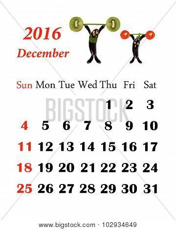 2016 Calendar. Desember. Little Funny People From Vegetables And Fruits.