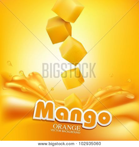 Vector juicy mango slices falling into the fresh juice