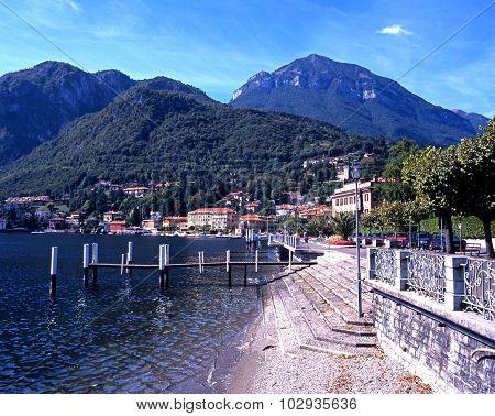 Lake como shoreline at Menaggio.