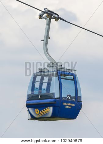 Lenk Im Simmental, Switzerland - July 12, 2015: Ski Lift In Mountain During The Summer. The Village