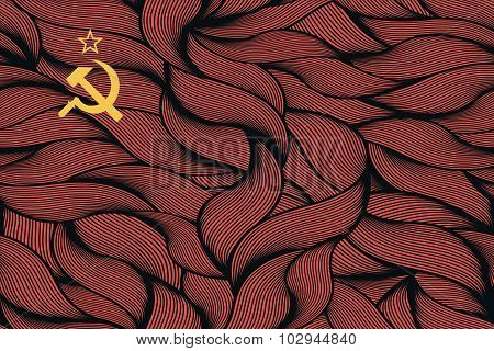 Abstract textured flag of Soviet Union. Vector colorful illustration. poster
