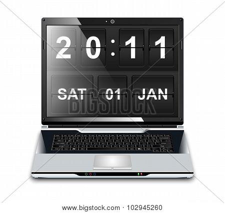 Modern Laptop With Flip Clock Screensaver