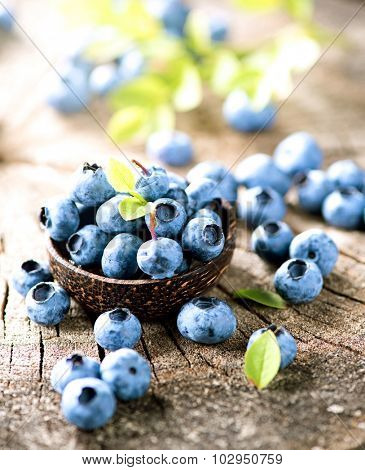 Blueberry closeup. Freshly picked blueberries in wooden bowl over rustic background. Juicy and fresh berries. Bilberries on wooden table. Diet, dieting. Healthy food concept. Vitamins and antioxidants