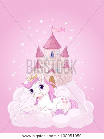 Illustration of the pink fairy castle and unicorn