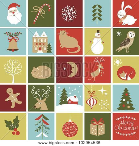 Set Icons for create Advent Calendar, Christmas Illustrations and Characters, Cute fox, owl, cat, Santa, gingerbread man, rabbit , reindeer