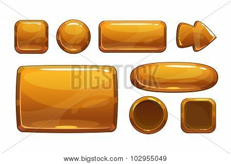 Cartoon bronze game UI assets, vector metallic gui, isolated on white poster