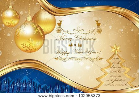 Business Christmas and New Year greeting card