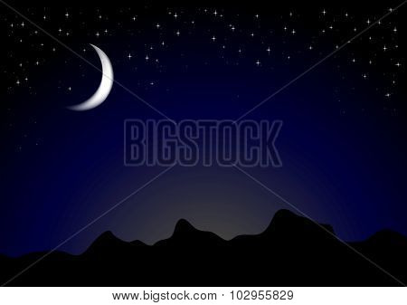 Dark moonlight night background. Vector mountains landscape design