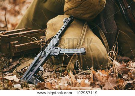 Soviet WW2 weapon of infantry. Submachine Gun PPS-43