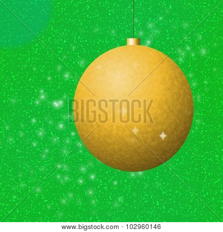 Golden christmas ball on green background
