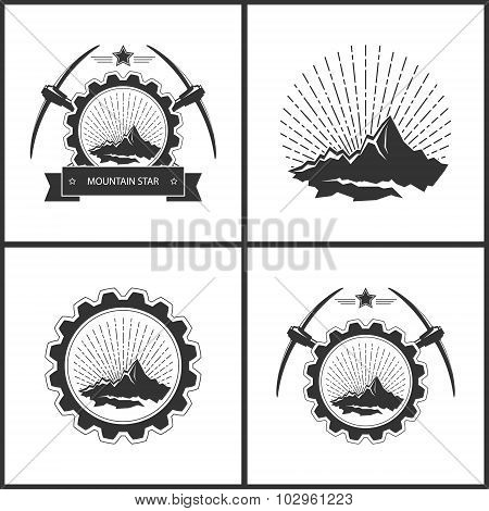 Set Of Vintage Emblem Of The Mining Industry