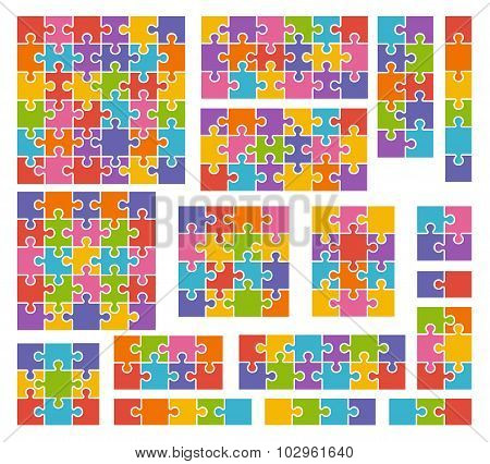 Parts Of Puzzles On White Background In Colored Colors. Set Of Puzzle 2, 3, 4, 5, 6, 8, 9, 10, 12, 1