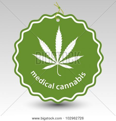 Green Medical Cannabis Marijuana Tag Label With String Eyelet With Silhouette