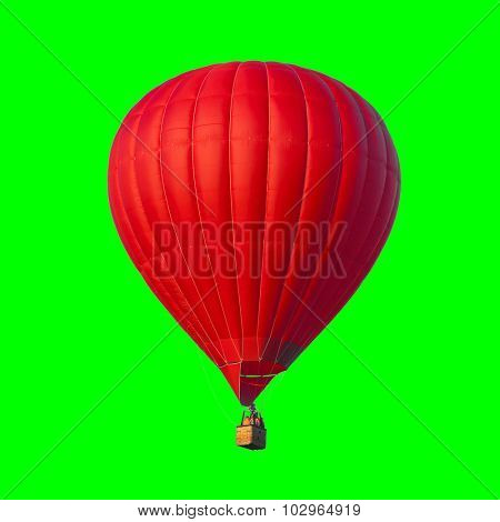 Hot Air Red balloon on green background