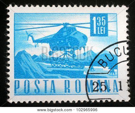 ROMANIA - CIRCA 1967: A stamp printed in Romania showing a Mil Mi-4 helicopter, circa 1967.