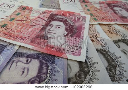 LONDON UK - CIRCA JULY 2015: British Sterling Pound notes currency of the United Kingdom