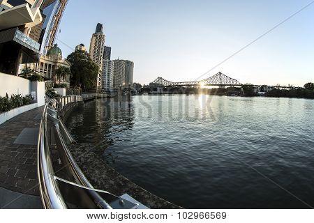 Brisbane Story Bridge sunrise cityscape