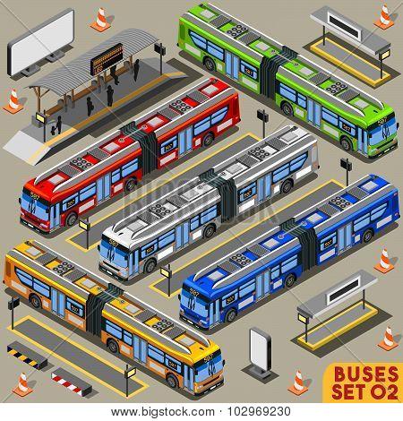 Bus Set 02 Vehicle Isometric