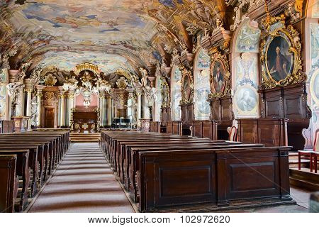 WROCLAW, POLAND - AUGUST 04, 2013: Leopoldina grand Hall at Wroclaw University. Poland
