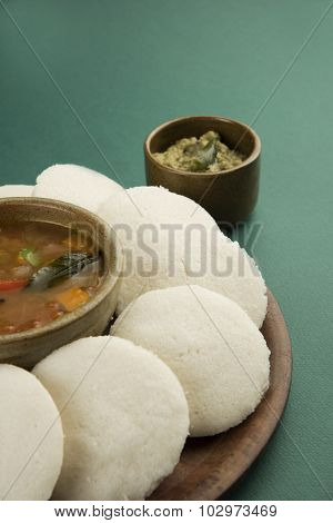 south indian breakfast, idli or idly sambar