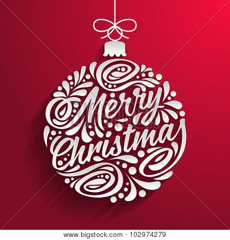 Holidays greeting card with abstract doodle Christmas ball. Vector eps10 illustration. Merry christmas