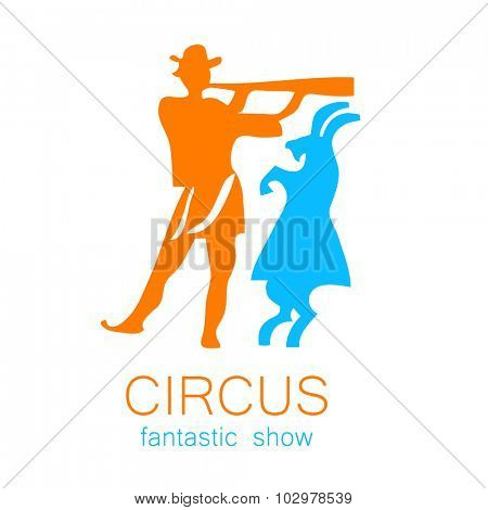 Circus - template logo. Tamer musician and a goat.