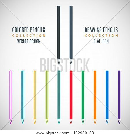 Set Colored Pencils Icons In The Style Flat Design Isolated On Gray Background