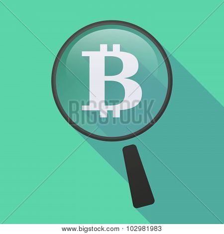 Illustration of a long shadow magnifier icon with a bit coin sign poster