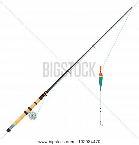 Vector Flat Style Float Fishing Rod Illustration.