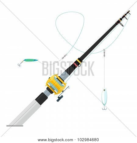 Vector Flat Style Trolling Spinning Fishing Rod Illustration.