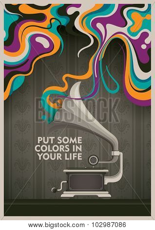 Abstract background with phonograph. Vector illustration.