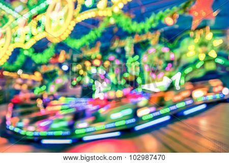 Blurred Defocused Lights At Luna Park Carousel Roundabout - German Christmas Market At Alexander Pla