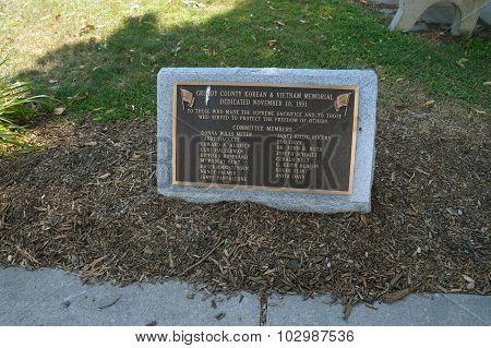 Plaque for Korean and Vietnam Memorial