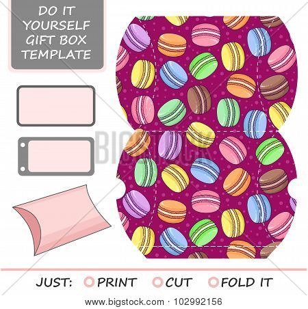 Favor gift box die cut. Box template with macaron pattern. Great for birthday or wedding gift packaging.