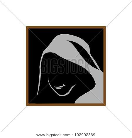 Anonymous Logo Template. Monk Shadowed Face Under The Hood. poster
