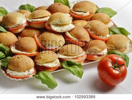 Mozzarella And Tomato Sandwiches