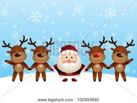 Cute Santa with funny deers