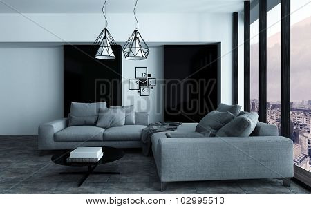 Cozy corner in a modern sitting room or living room interior with grey sofas against a wall with black accents in front of a large view window. 3d Rendering.