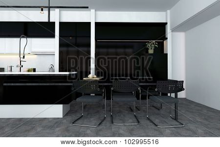 Open-plan kitchen with fitted appliances and a bar counter with contemporary stools at the end with black, white and grey decor, 3d rendering