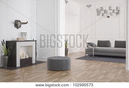 3d render of a minimalist modern living room interior with a circular seat in front of a fireplace on a bare hardwood floor and a sofa in a recessed alcove with white wood paneling. 3d Rendering.