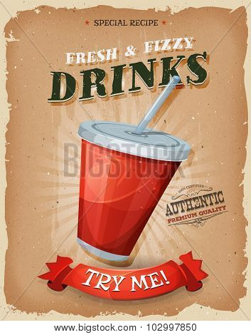 Grunge And Vintage Drinks And Beverage Poster