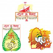 Shubh Vivah, Indian Wedding, the Betel Leaf symbolizes Prosperity, the Elephant symbolizes Wisdom, the Dhol Drums symbolizes Festive Music, vector illustration poster